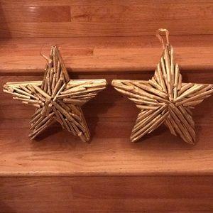 Large Wood Gold Stars